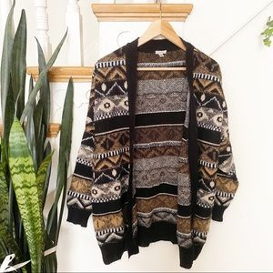 Ecote tan and black patterned fuzzy cardigan sz S